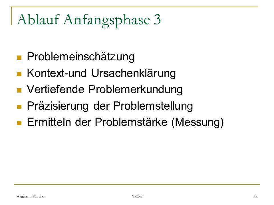 Andreas Fassler TCM 13 Ablauf Anfangsphase 3 Problemeinschätzung Kontext-und Ursachenklärung Vertiefende Problemerkundung Präzisierung der Problemstel
