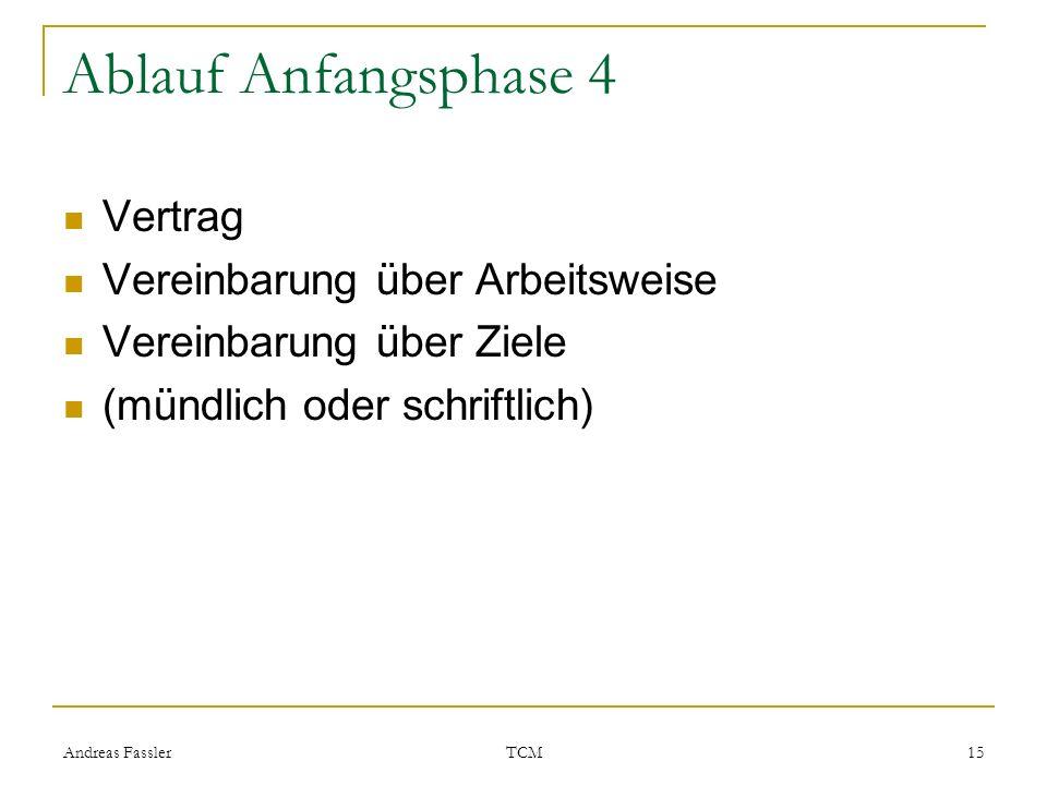Andreas Fassler TCM 15 Ablauf Anfangsphase 4 Vertrag Vereinbarung über Arbeitsweise Vereinbarung über Ziele (mündlich oder schriftlich)