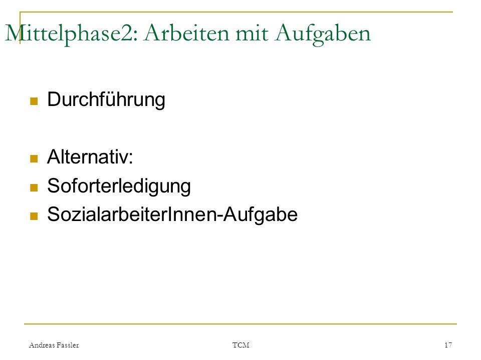Andreas Fassler TCM 17 Mittelphase2: Arbeiten mit Aufgaben Durchführung Alternativ: Soforterledigung SozialarbeiterInnen-Aufgabe