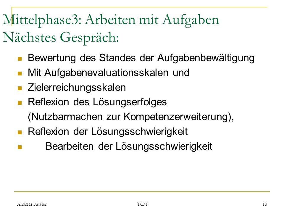 Andreas Fassler TCM 18 Mittelphase3: Arbeiten mit Aufgaben Nächstes Gespräch: Bewertung des Standes der Aufgabenbewältigung Mit Aufgabenevaluationsska