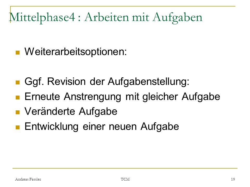 Andreas Fassler TCM 19 Mittelphase4 : Arbeiten mit Aufgaben Weiterarbeitsoptionen: Ggf. Revision der Aufgabenstellung: Erneute Anstrengung mit gleiche