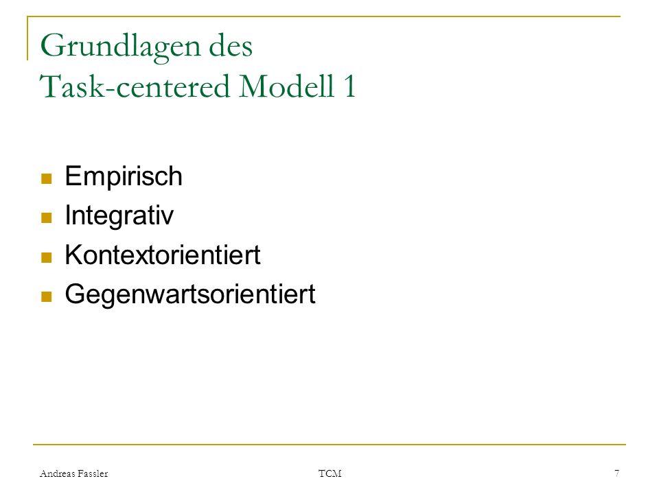 Andreas Fassler TCM 7 Grundlagen des Task-centered Modell 1 Empirisch Integrativ Kontextorientiert Gegenwartsorientiert