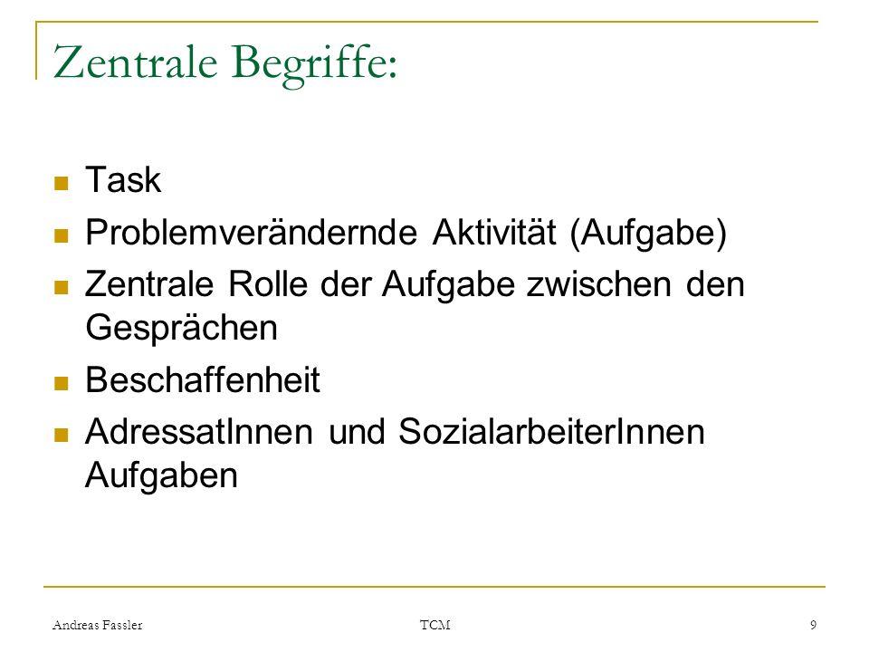 Andreas Fassler TCM 9 Zentrale Begriffe: Task Problemverändernde Aktivität (Aufgabe) Zentrale Rolle der Aufgabe zwischen den Gesprächen Beschaffenheit