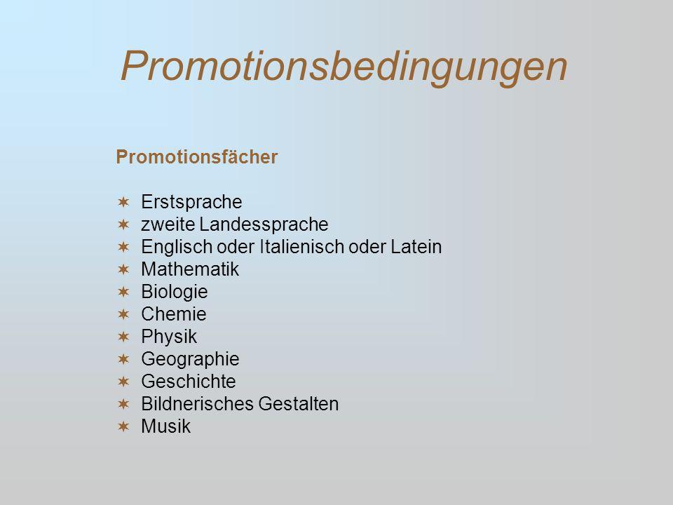 Promotionsbedingungen Promotionsfächer Erstsprache zweite Landessprache Englisch oder Italienisch oder Latein Mathematik Biologie Chemie Physik Geogra