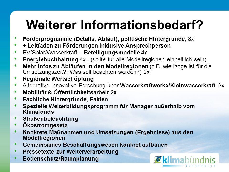 Weiterer Informationsbedarf? Förderprogramme (Details, Ablauf), politische Hintergründe, 8x + Leitfaden zu Förderungen inklusive Ansprechperson PV/Sol