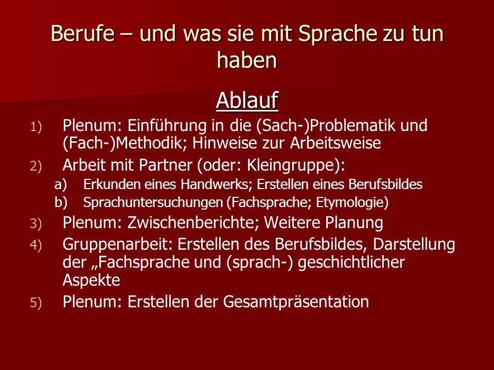 Berufe – und was sie mit Sprache zu tun haben Ablauf 1) 1) Plenum: Einführung in die (Sach-)Problematik und (Fach-)Methodik; Hinweise zur Arbeitsweise