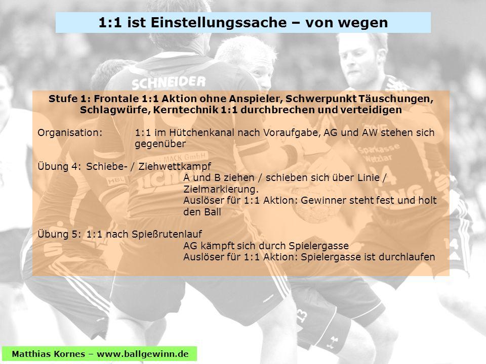 Matthias Kornes – www.ballgewinn.de Stufe 1: Frontale 1:1 Aktion ohne Anspieler, Schwerpunkt Täuschungen, Schlagwürfe, Kerntechnik 1:1 durchbrechen un