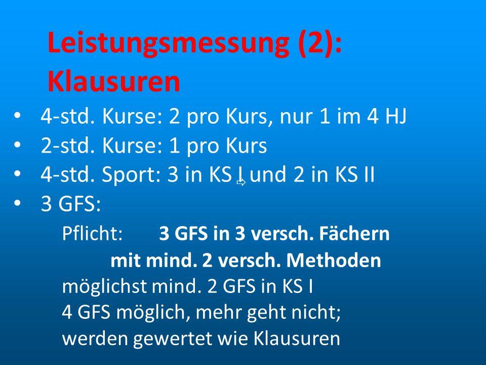 Leistungsmessung (2): Klausuren 4-std. Kurse: 2 pro Kurs, nur 1 im 4 HJ 2-std. Kurse: 1 pro Kurs 4-std. Sport: 3 in KS I und 2 in KS II 3 GFS: Pflicht