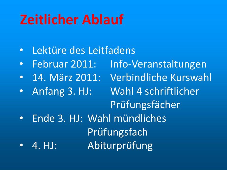 Zeitlicher Ablauf Lektüre des Leitfadens Februar 2011:Info-Veranstaltungen 14. März 2011:Verbindliche Kurswahl Anfang 3. HJ:Wahl 4 schriftlicher Prüfu