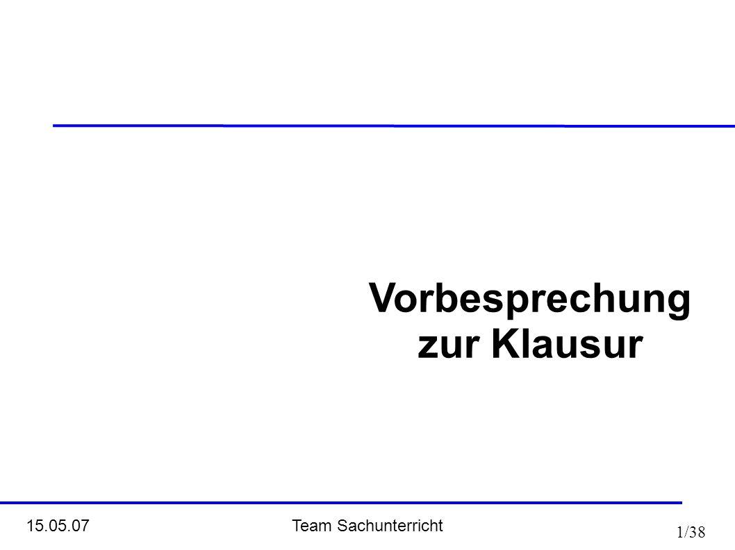 Team Sachunterricht 15.05.07 1/38 Vorbesprechung zur Klausur