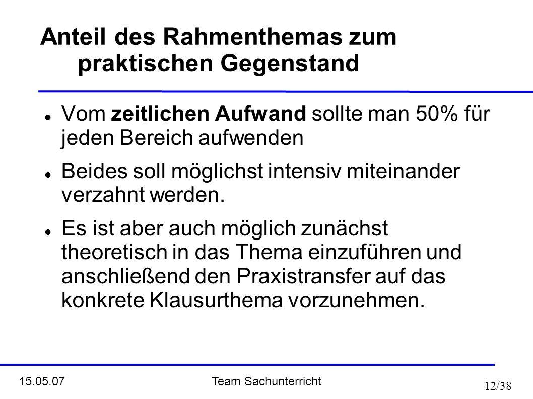 Team Sachunterricht 15.05.07 12/38 Vom zeitlichen Aufwand sollte man 50% für jeden Bereich aufwenden Beides soll möglichst intensiv miteinander verzah