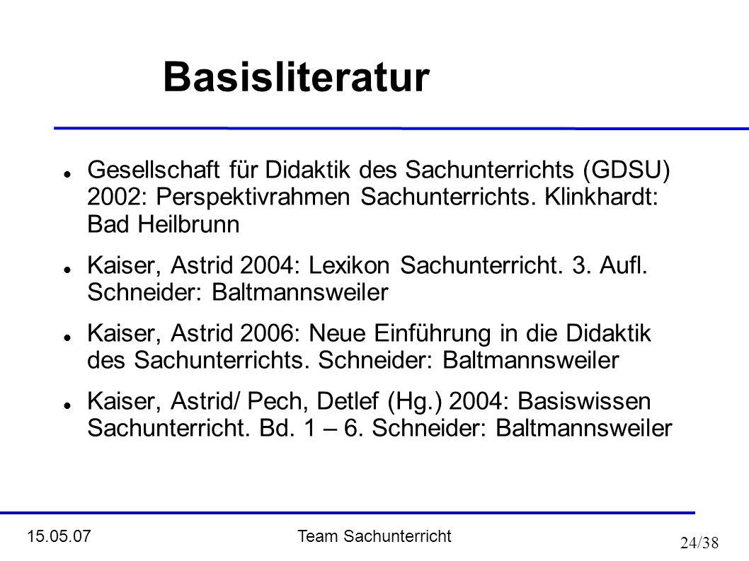 Team Sachunterricht 15.05.07 24/38 Basisliteratur Gesellschaft für Didaktik des Sachunterrichts (GDSU) 2002: Perspektivrahmen Sachunterrichts. Klinkha