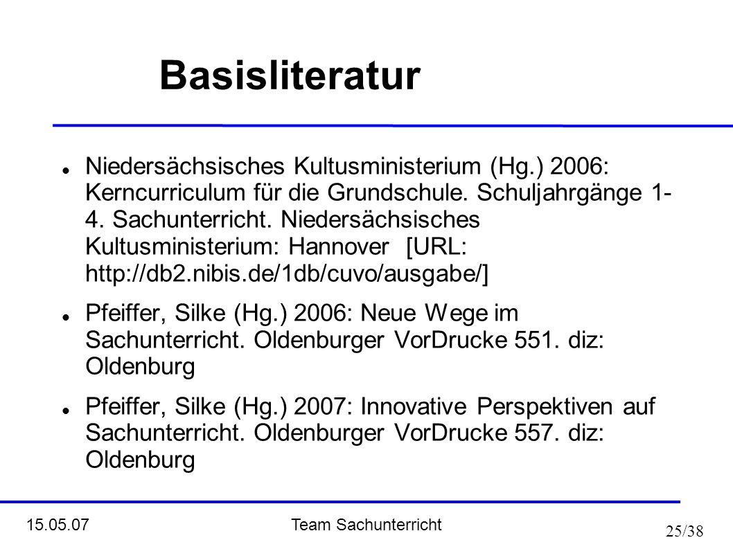 Team Sachunterricht 15.05.07 25/38 Basisliteratur Niedersächsisches Kultusministerium (Hg.) 2006: Kerncurriculum für die Grundschule. Schuljahrgänge 1