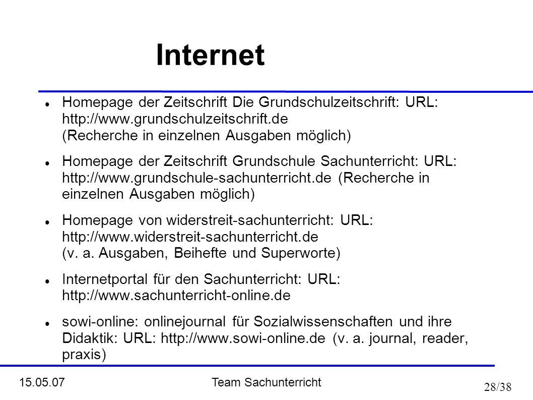 Team Sachunterricht 15.05.07 28/38 Internet Homepage der Zeitschrift Die Grundschulzeitschrift: URL: http://www.grundschulzeitschrift.de (Recherche in