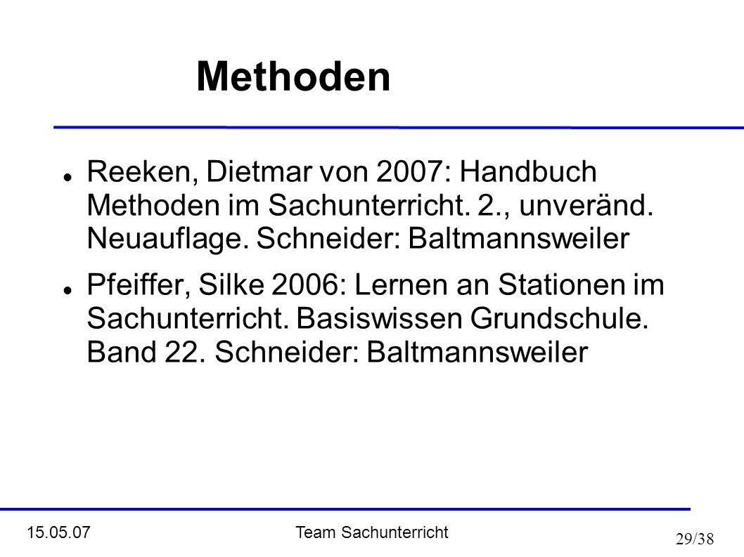 Team Sachunterricht 15.05.07 29/38 Methoden Reeken, Dietmar von 2007: Handbuch Methoden im Sachunterricht. 2., unveränd. Neuauflage. Schneider: Baltma