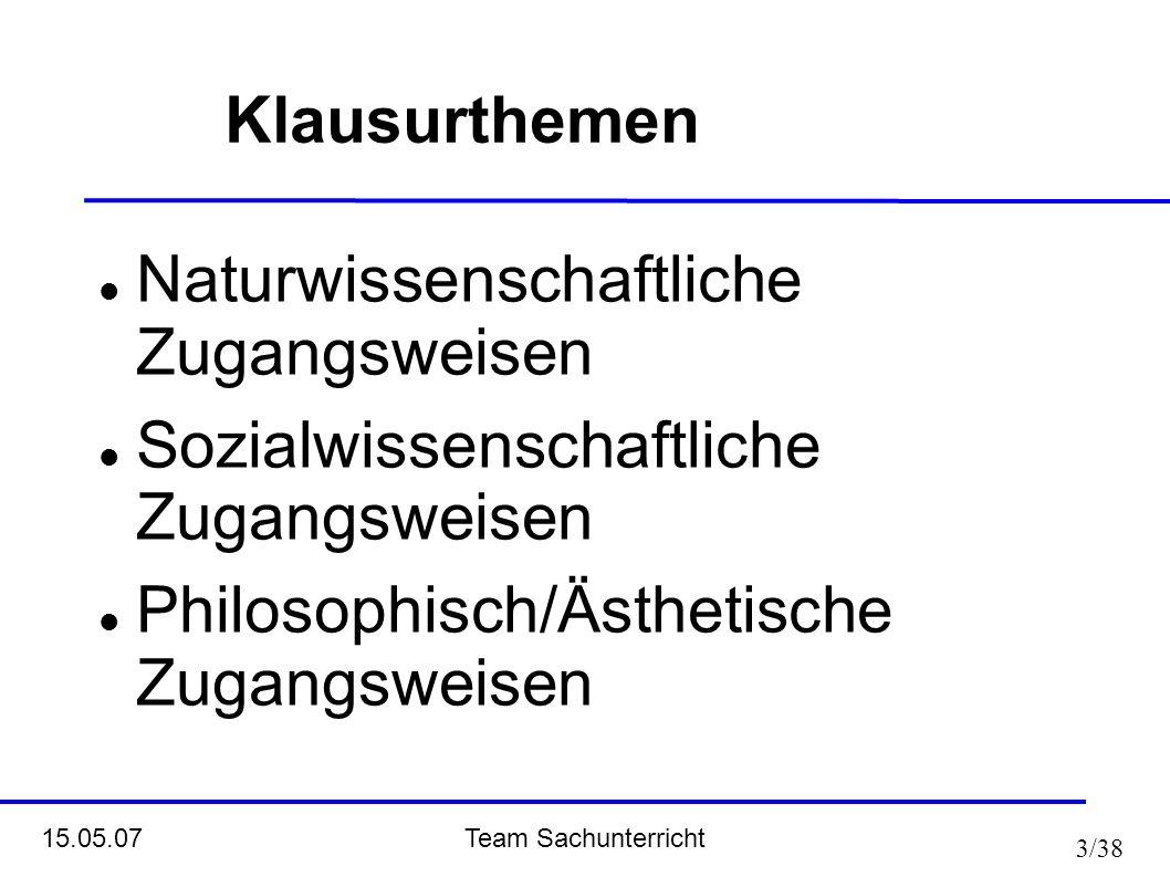 Team Sachunterricht 15.05.07 3/38 Klausurthemen Naturwissenschaftliche Zugangsweisen Sozialwissenschaftliche Zugangsweisen Philosophisch/Ästhetische Z
