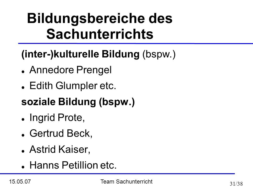 Team Sachunterricht 15.05.07 31/38 Bildungsbereiche des Sachunterrichts (inter-)kulturelle Bildung (bspw.) Annedore Prengel Edith Glumpler etc. sozial