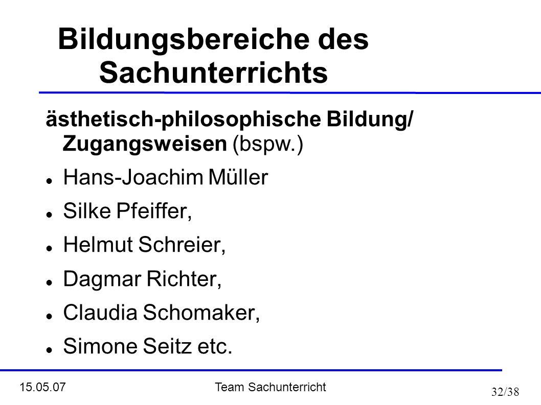 Team Sachunterricht 15.05.07 32/38 Bildungsbereiche des Sachunterrichts ästhetisch-philosophische Bildung/ Zugangsweisen (bspw.) Hans-Joachim Müller S