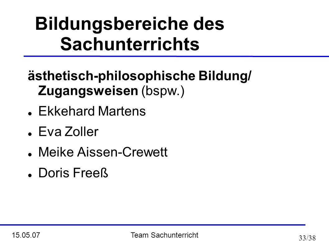 Team Sachunterricht 15.05.07 33/38 Bildungsbereiche des Sachunterrichts ästhetisch-philosophische Bildung/ Zugangsweisen (bspw.) Ekkehard Martens Eva