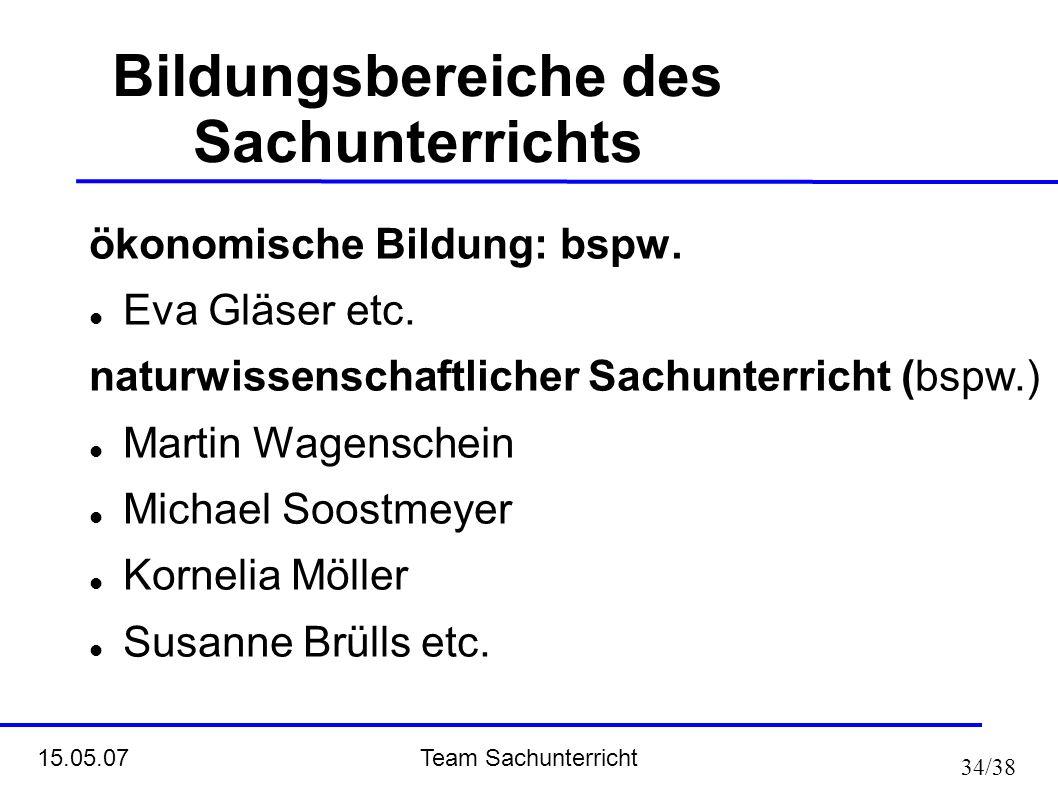 Team Sachunterricht 15.05.07 34/38 Bildungsbereiche des Sachunterrichts ökonomische Bildung: bspw. Eva Gläser etc. naturwissenschaftlicher Sachunterri