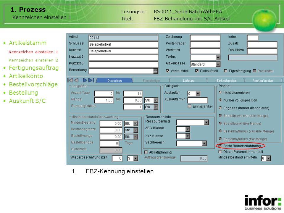 1.FBZ-Kennung einstellen 1. Prozess Artikelstamm Kennzeichen einstellen 1 Kennzeichen einstellen 2 Fertigungsauftrag Artikelkonto Bestellvorschläge Be