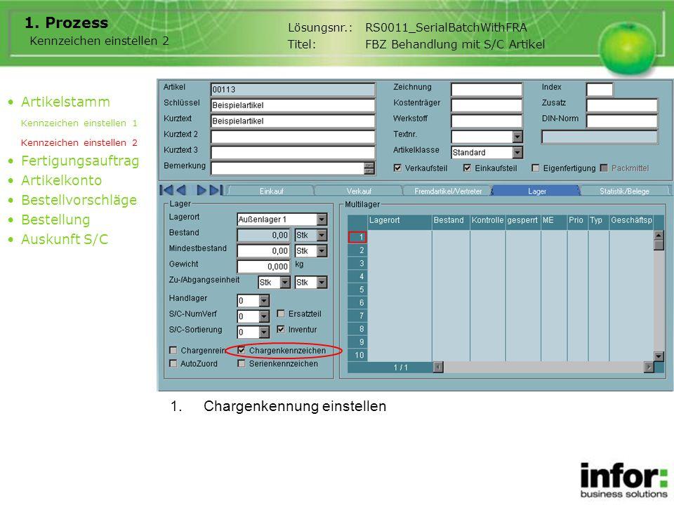 1.Chargenkennung einstellen 1. Prozess Artikelstamm Kennzeichen einstellen 1 Kennzeichen einstellen 2 Fertigungsauftrag Artikelkonto Bestellvorschläge