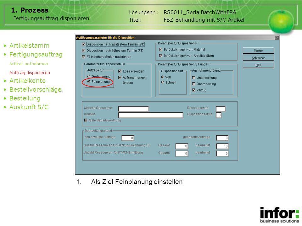 1.Als Ziel Feinplanung einstellen 1. Prozess Artikelstamm Fertigungsauftrag Artikel aufnehmen Auftrag disponieren Artikelkonto Bestellvorschläge Beste