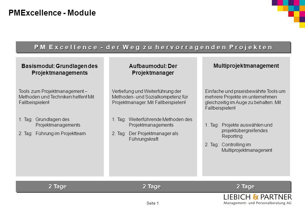 Seite 1 PMExcellence - Module P M E x c e l l e n c e - d e r W e g z u h e r v o r r a g e n d e n P r o j e k t e n Basismodul: Grundlagen des Proje