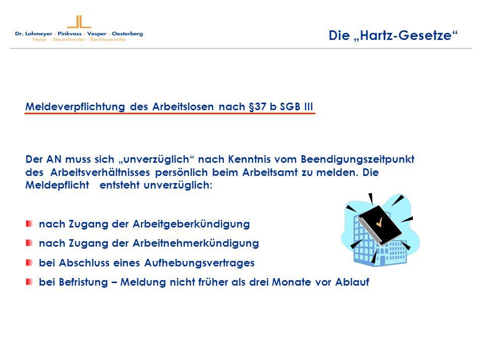 Die Hartz-Gesetze Meldeverpflichtung des Arbeitslosen nach §37 b SGB III Der AN muss sich unverzüglich nach Kenntnis vom Beendigungszeitpunkt des Arbeitsverhältnisses persönlich beim Arbeitsamt zu melden.