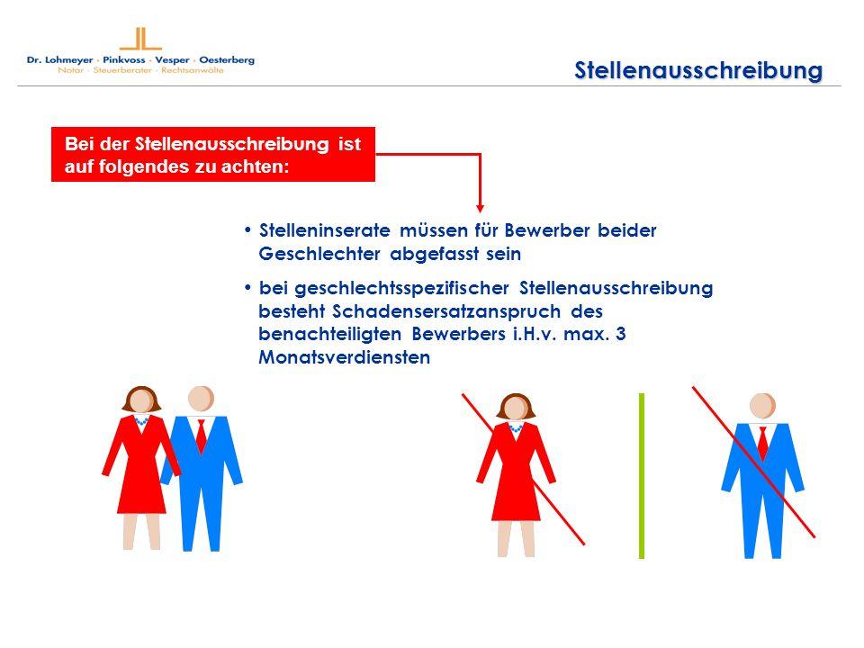 Stellenausschreibung Bei der Stellenausschreibung ist auf folgendes zu achten: Stelleninserate müssen für Bewerber beider Geschlechter abgefasst sein bei geschlechtsspezifischer Stellenausschreibung besteht Schadensersatzanspruch des benachteiligten Bewerbers i.H.v.