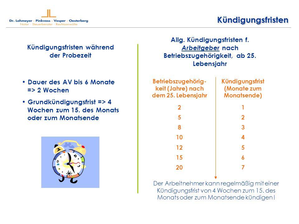Kündigungsfristen Kündigungsfristen während der Probezeit Dauer des AV bis 6 Monate => 2 Wochen Grundkündigungsfrist => 4 Wochen zum 15.