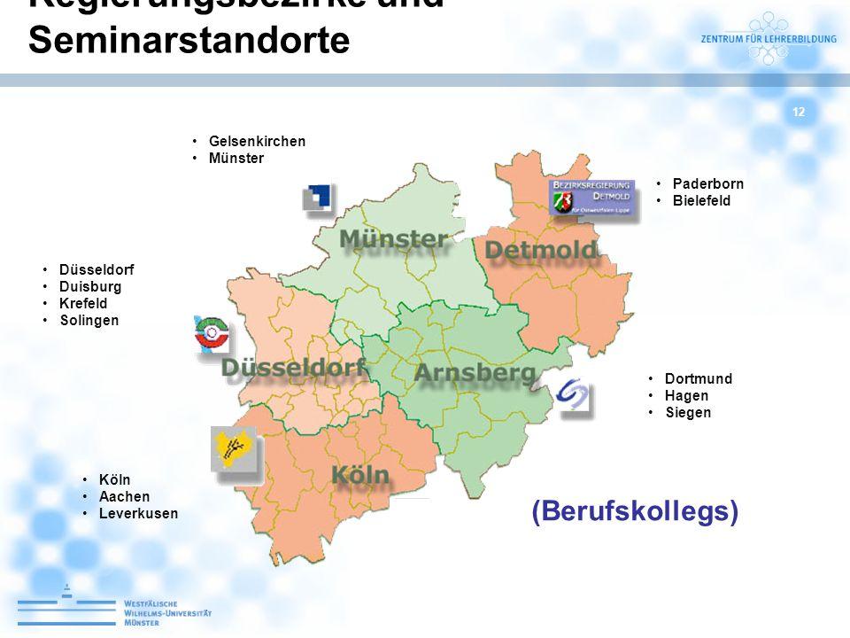 12 Gelsenkirchen Münster Dortmund Hagen Siegen Düsseldorf Duisburg Krefeld Solingen Köln Aachen Leverkusen Paderborn Bielefeld Regierungsbezirke und S