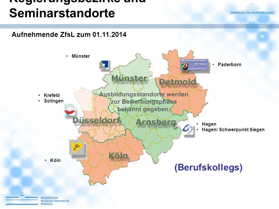 15 Münster Hagen Hagen/ Schwerpunkt Siegen Krefeld Solingen Ausbildungsstandorte werden zur Bewerbungsphase bekannt gegeben. Köln Paderborn Regierungs