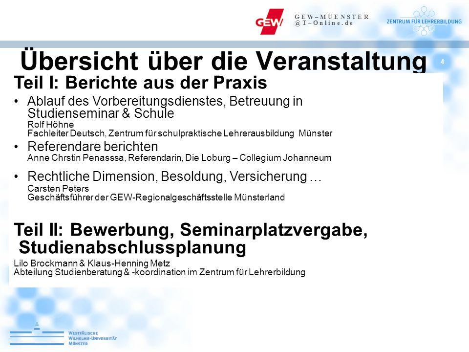 4 Übersicht über die Veranstaltung Teil I: Berichte aus der Praxis Ablauf des Vorbereitungsdienstes, Betreuung in Studienseminar & Schule Rolf Höhne F