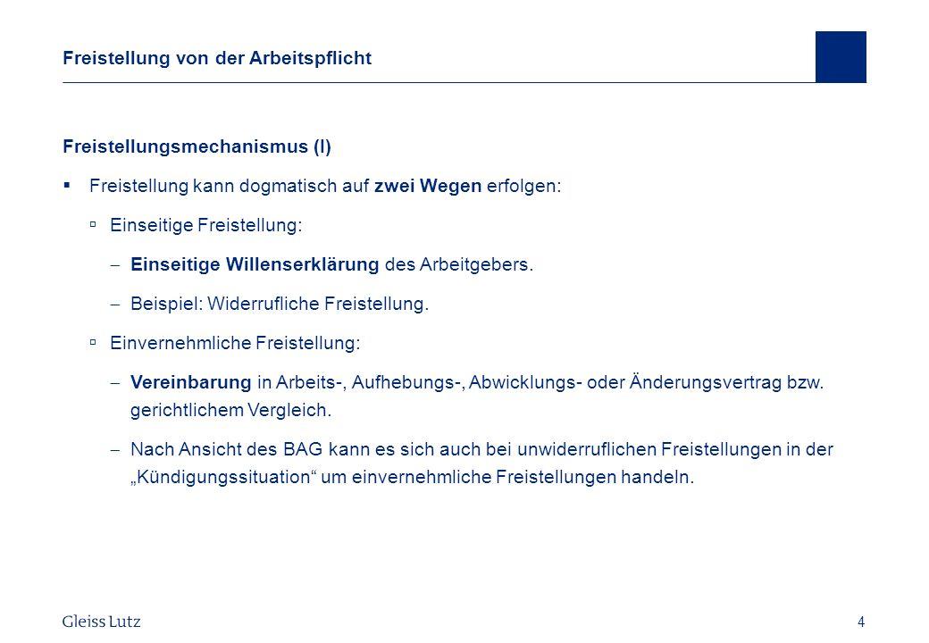 25 Gestaltungsmöglichkeiten Anrechnung anderweitigen Verdienstes BAG vom 6.9.2006 – 5 AZR 703/05, NZA 2007, 36 ff.