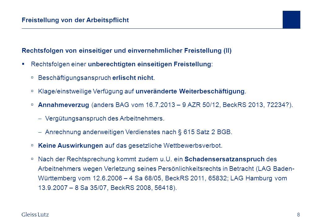 19 Gestaltungsmöglichkeiten Konkrete Festlegung des Urlaubszeitraums BAG vom 17.5.2011 – 9 AZR 189/10, NZA 2011, 1032 ff.
