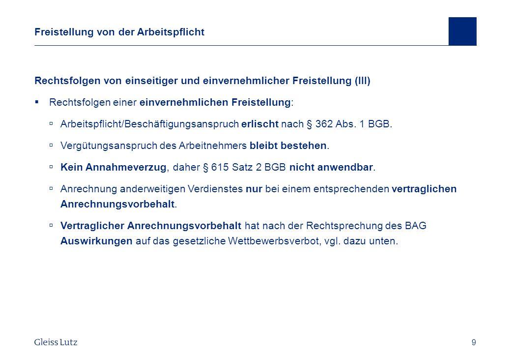 30 Gestaltungsmöglichkeiten Gesetzliches Wettbewerbsverbot BAG vom 17.10.2012 – 10 AZR 809/11, NZA 2013, 207 ff.