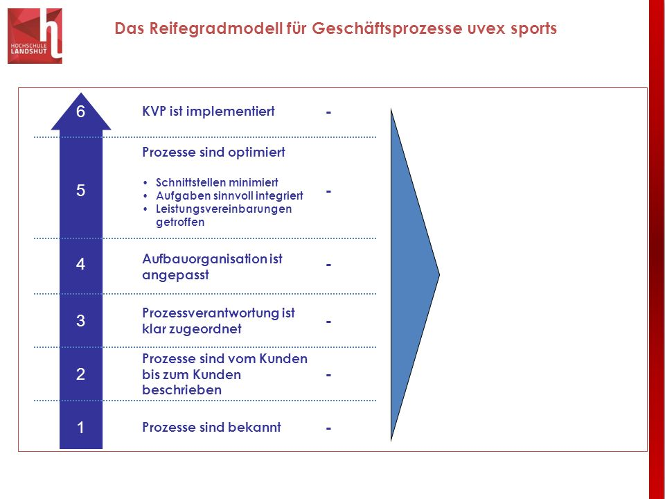 Das Reifegradmodell für Geschäftsprozesse uvex sports Prozesse sind optimiert Schnittstellen minimiert Aufgaben sinnvoll integriert Leistungsvereinbar
