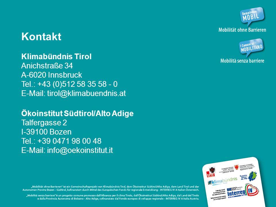 Kontakt Klimabündnis Tirol Anichstraße 34 A-6020 Innsbruck Tel.: +43 (0)512 58 35 58 - 0 E-Mail: tirol@klimabuendnis.at Ökoinstitut Südtirol/Alto Adige Talfergasse 2 I-39100 Bozen Tel.: +39 0471 98 00 48 E-Mail: info@oekoinstitut.it