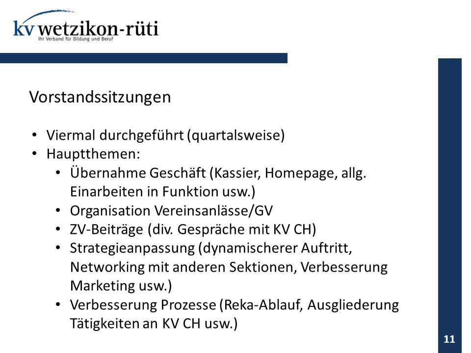 Viermal durchgeführt (quartalsweise) Hauptthemen: Übernahme Geschäft (Kassier, Homepage, allg. Einarbeiten in Funktion usw.) Organisation Vereinsanläs