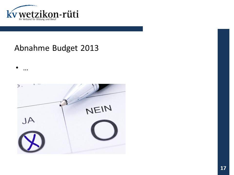 … 17 Abnahme Budget 2013