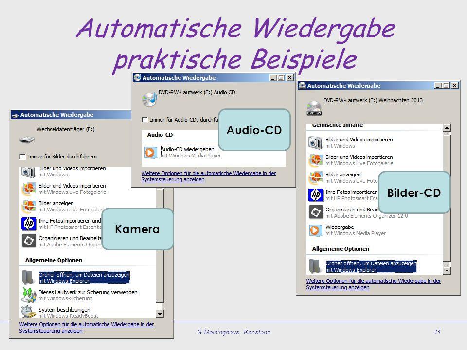 Automatische Wiedergabe praktische Beispiele G.Meininghaus, Konstanz11 Audio-CD Bilder-CD Kamera