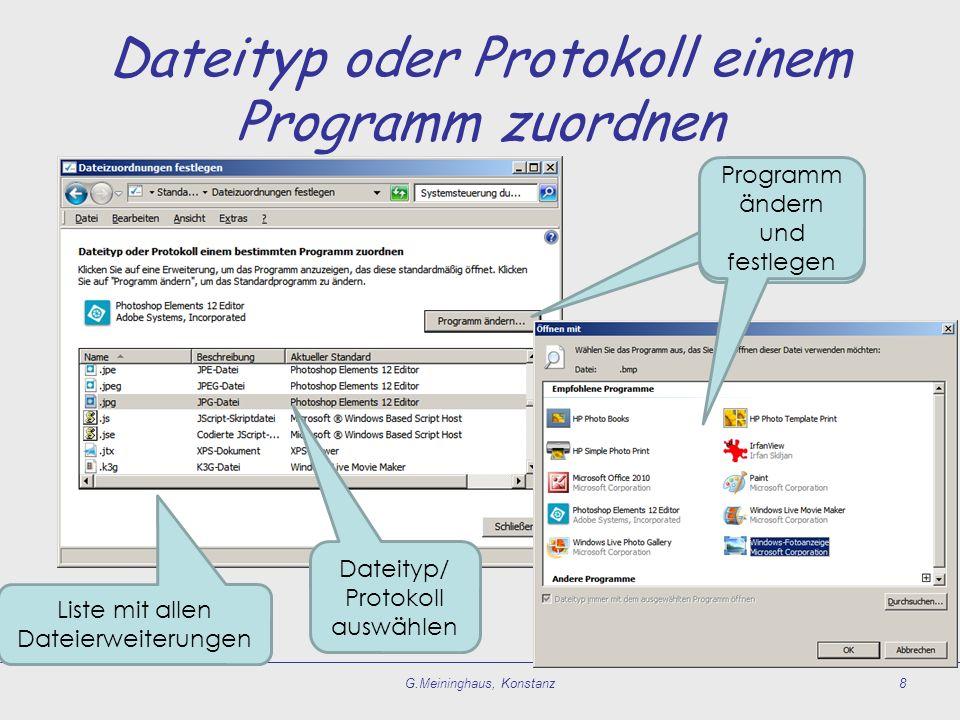 Dateityp oder Protokoll einem Programm zuordnen G.Meininghaus, Konstanz8 Dateityp/ Protokoll auswählen Programm ändern und festlegen Liste mit allen D