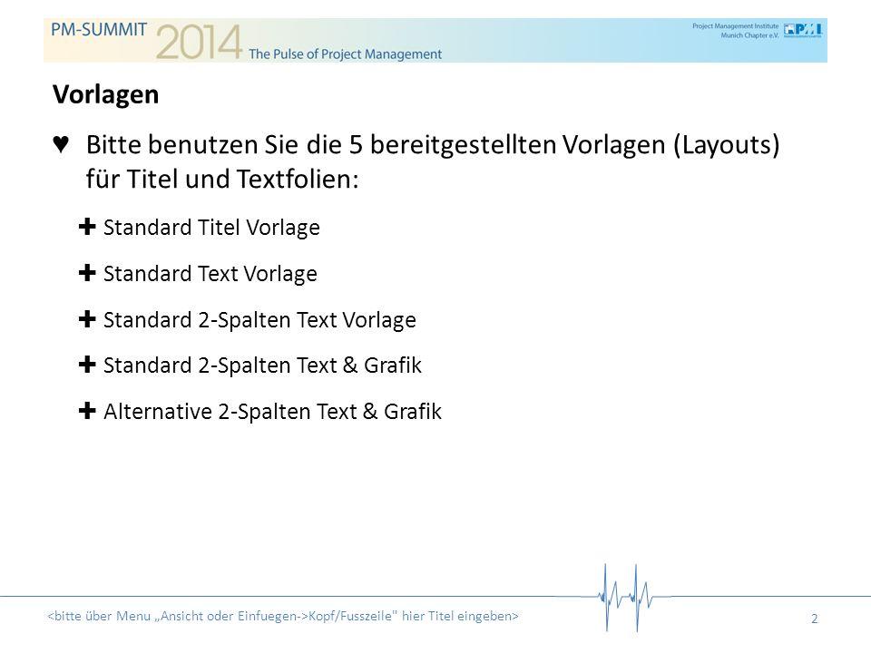 2 Bitte benutzen Sie die 5 bereitgestellten Vorlagen (Layouts) für Titel und Textfolien: Standard Titel Vorlage Standard Text Vorlage Standard 2-Spalt