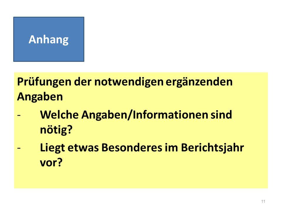 Prüfungen der notwendigen ergänzenden Angaben -Welche Angaben/Informationen sind nötig? -Liegt etwas Besonderes im Berichtsjahr vor? Anhang 11