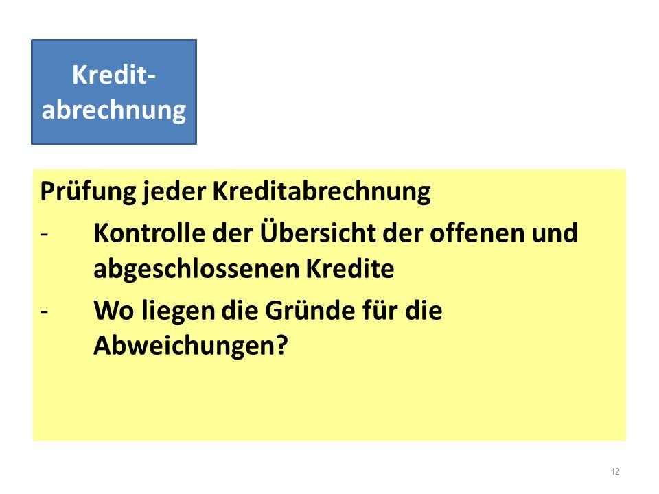Prüfung jeder Kreditabrechnung -Kontrolle der Übersicht der offenen und abgeschlossenen Kredite -Wo liegen die Gründe für die Abweichungen? Kredit- ab
