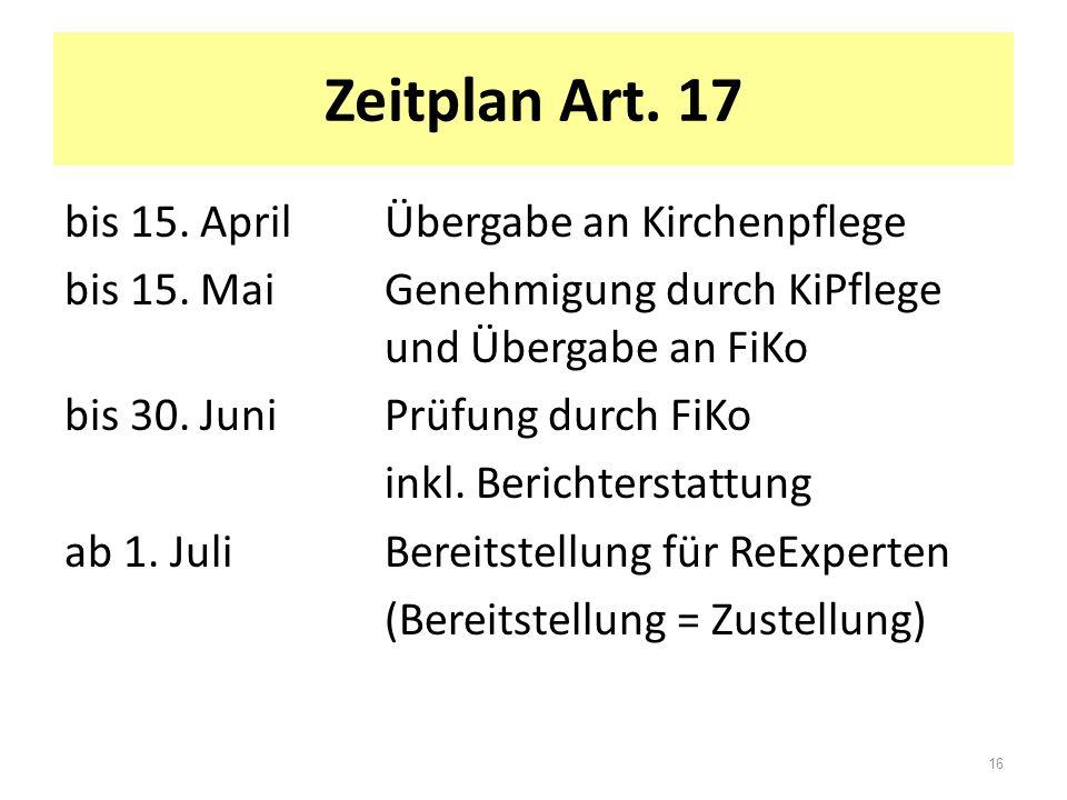 Zeitplan Art. 17 bis 15. AprilÜbergabe an Kirchenpflege bis 15. MaiGenehmigung durch KiPflege und Übergabe an FiKo bis 30. JuniPrüfung durch FiKo inkl