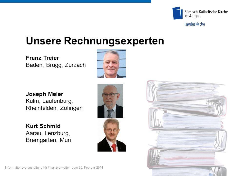 Unsere Rechnungsexperten Franz Treier Baden, Brugg, Zurzach Joseph Meier Kulm, Laufenburg, Rheinfelden, Zofingen Kurt Schmid Aarau, Lenzburg, Bremgart