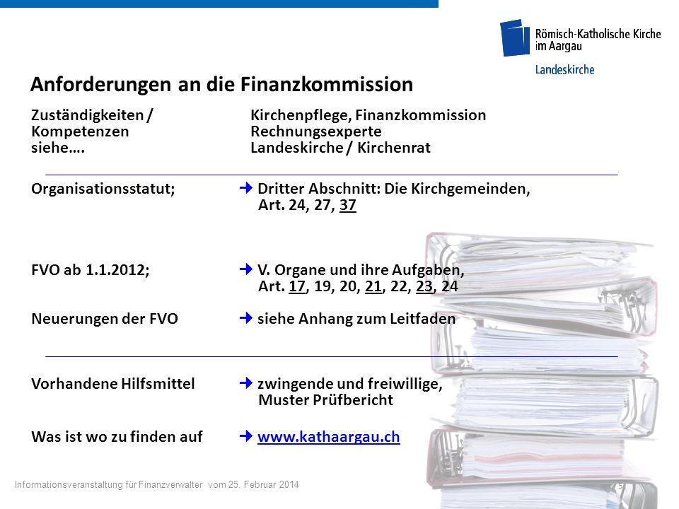 5 Anforderungen an die Finanzkommission Zuständigkeiten / Kirchenpflege, Finanzkommission Kompetenzen Rechnungsexperte siehe…. Landeskirche / Kirchenr