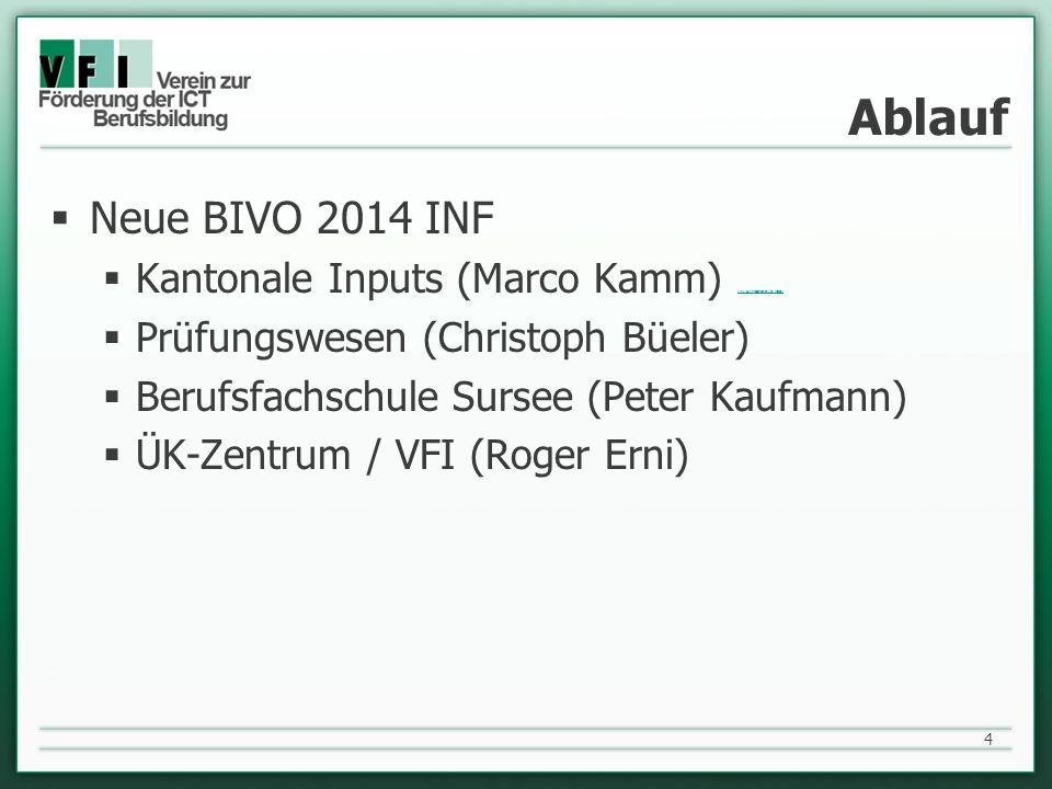 Ablauf Neue BIVO 2014 INF Kantonale Inputs (Marco Kamm) (link zur Präsentation von Marco) (link zur Präsentation von Marco) Prüfungswesen (Christoph B